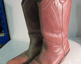 LOVELY 'Top Shop' Mid-Brown Leather Cowboy Boots, Leather Sole - UK Size 5