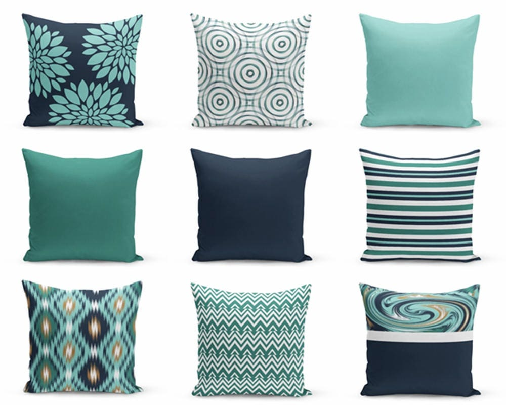 Navy And Teal Throw Pillows: Throw Pillow Covers Navy Teal Pillows Cushion Covers Home