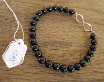"Sterling Silver Black Onyx Beads Elastic Bracelet 7-9"" (1585)"