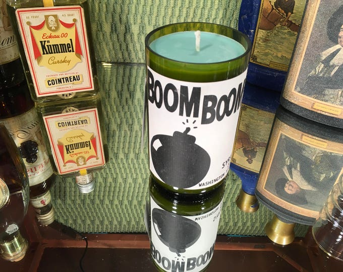 Boom Boom Syrah bottle with a Soy Lemon Eucalyptus candle