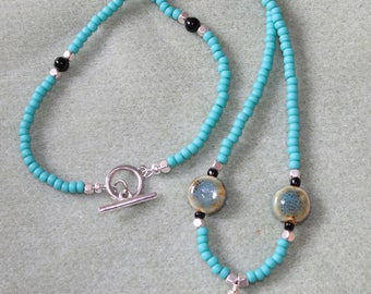 Turquioise Colored Necklace,Ceramic Beaded Necklace,Long Beaded Necklace,Ceramic Necklace,Turquoise seed beaded Necklace.