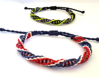 Friendship Bracelet, Trimple DNA Bracelet, Waxed Bracelet, Macrame Bracelet, Surf Bracelet