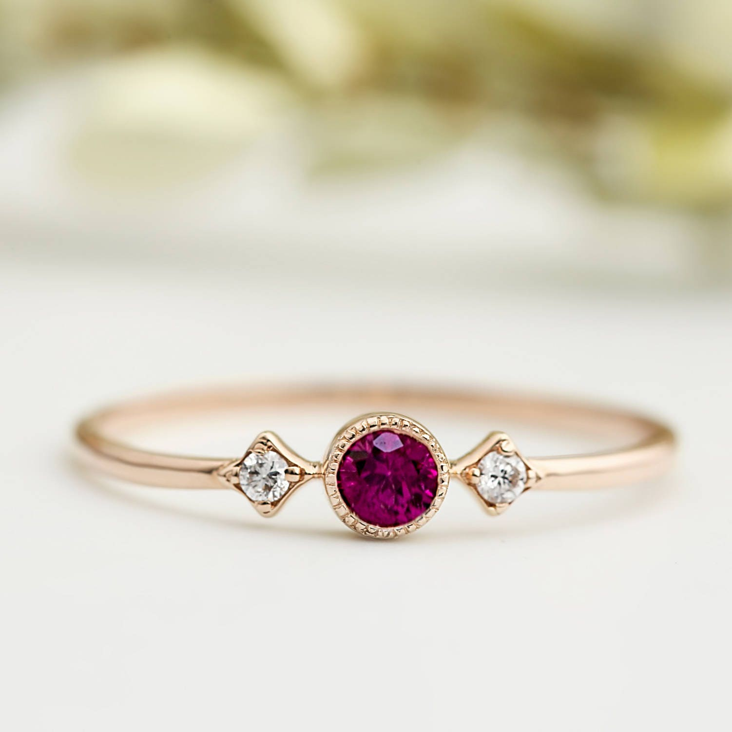 Genuine ruby engagement ring with diamonds unique ruby for Ruby wedding band rings