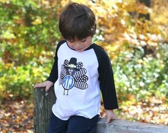 Toddler Boys Monogram Turkey Shirt, Thanksgiving Shirt for Toddler Boys, Toddler Monogram Thanksgiving Shirt, Turkey Shirt for Toddlers