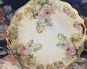 Antique Prussian Cake Plate, Cream and Pink Roses, Gold, Handles, Royal Rudolstadt