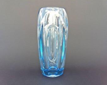 """Glass vase """"Lens"""" ... Rosice ... Czechoslovakia ... Design: Rudolf Schrötter"""