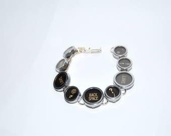 Typewriter Key Bracelet - Vintage Style Upcycled Typewriter Key Bracelet with Funky Functioin Keys - Unisex Gift.