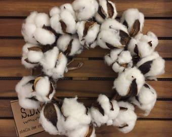 Farmhouse Mini Cotton Wreath   Fixer Upper Style  Rustic Cotton Decor