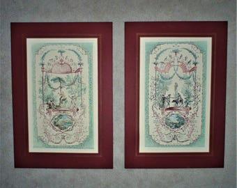 Pair French Engravings After Jean Antoine Watteau Interior Decorator Designer Prints