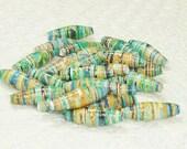 Paper Beads, Loose Handmade Jewelry Supplies Craft Supplies Mermaid Scales