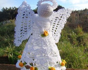Crochet Irish Cotton lace with yellow roses angel tree topper