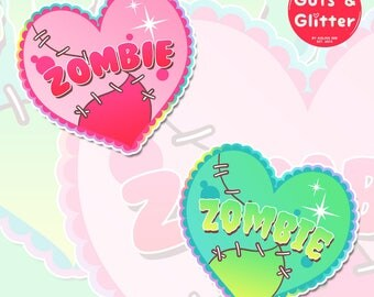 Zombie Heart, Choice of Colour Holographic Sticker