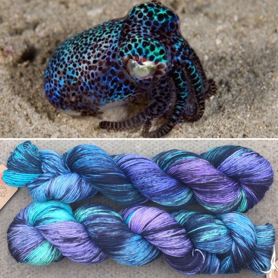 Firefly Squid 20g Miniskein, speckled cephalopod theme merino nylon sock yarn