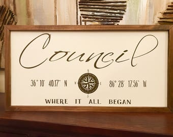 Latitude and Longitude Wood Sign, Last Name Sign, Family Name Sign