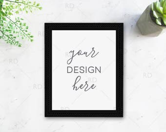 "Succulents Frame Mockup on Marble Desk / Styled Stock Photography / 8""x10"" Frame PSD smart object and PNG / Styled Desk with Black Frame"