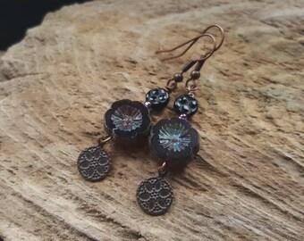 Deep Purple Gothic Flower Earrings, Boho Style Copper Earrings, Beaded Earrings, Dangly Bohemian Earrings, Hippy Earrings, Charm Earrings