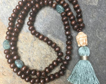 kyanite necklace 108 beaded mala mens women's necklace prayer beads exotic brown wooden beads yoga white stone buddha tassel necklace