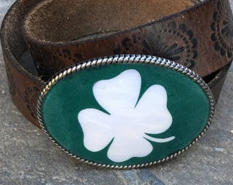 belt buckle Lucky four leaf clover Luck of the Irish Shamrock Celtics Belt Buckle rustic belt buckle mens belt buckle women's belt buckle