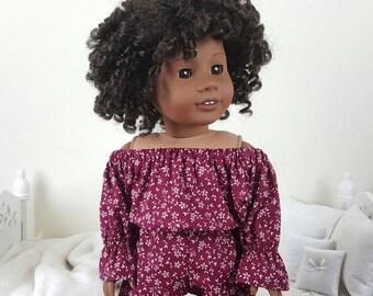 18 inch doll floral romper | burgundy romper