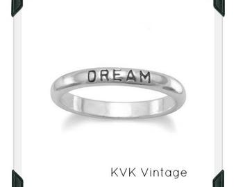 "Oxidized ""Dream"" Band - Inspirational Ring, Stamped Ring"
