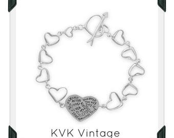 Heart Link Message Bracelet
