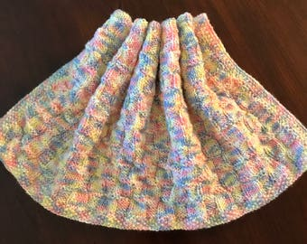 Multi-colored Baby Afghan with Matching Hat