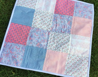 Vintage inspired mini quilt, doll quilt, newborn photography prop, baby photography prop, photo prop 22 x 22 inch