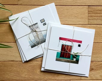 Threshold Graphic Photo Square 5x5 Recycled Greeting Card Set of 3