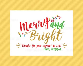 Rodan and Fields Merry and Bright Card - R+F Holiday Christmas thank you card file - Rodan + Fields mini facial digital printable file