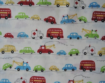 "Half Yard of D's Selection Cars Vehicles Trucks by Daiwabo Fabric on Off White Background. Approx.18"" x 44"" Made in Japan"