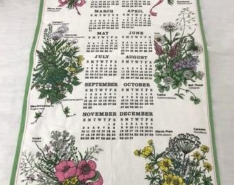 1991 Calendar Towel with Flowers
