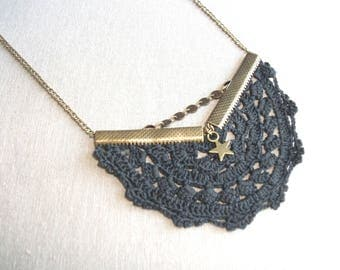 bronze Bohemian black crochet lace and star charm necklace