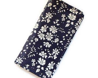 iPhone wallet case  folio case for 5s,SE, 6s, 6s Plus, 7,7Plus,8,8Plus, iPhone X,   LIBERTY of London Capel(Dark Purple)