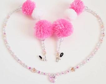 Pink Puff beaded Sunnies holder