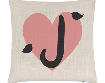 Letter J Heart Alphabet Linen Cushion Cover