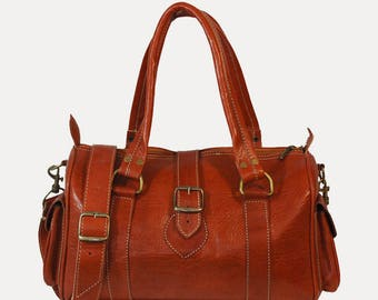 "Leather spirit adventurer - 3 available colors ""bowling"" bag"
