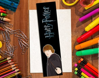 Bookmark Ron Weasley. Harry Potter bookmark. Paper bookmarks. Illustrated, cartoon style. Harry Potter items. For Potterheads!