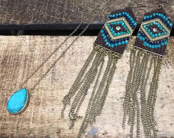 Turquoise necklace/earring set