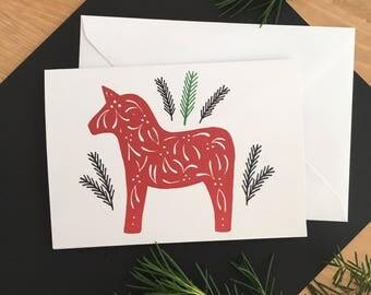 Dala Horse Scandinavian Inspired Greetings Card - Nordic - Swedish - Horse - Folklore