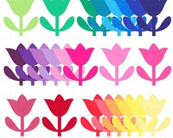 80% OFF SALE Rainbow Tulips Digital Clip Art - Personal and Commercial Use - Instant Download - C111