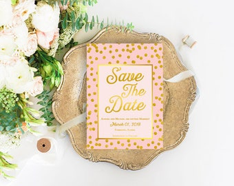 Blush and Gold Save The Date Cards / PRINTED Blush & Gold Save The Dates