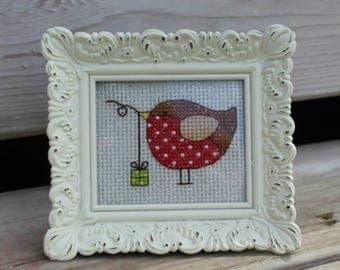 Framed Bird with a Gift Cross Stitch