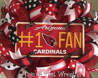 Arizona Cardinals Football Sports Fall Welcome Mesh Wreath