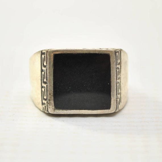 Onyx Square Stone in Greek Key Sterling Silver Ring Sz 11 #8759