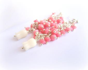 Pink coral earrings, long coral earrings, pink and white coral earrings, carved coral drop earrings, coral clusters, italian jewelry