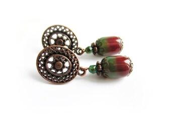 Two tone agate stone drop dangle earrings orange green color copper earrings gemstone jewelry gift for her