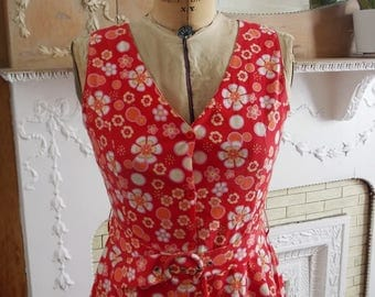 Vintage Red Floral Cotton Dress, Summer V Neck Sleeveless Dress with Belt, Size 8