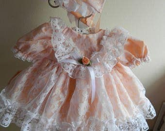 "Reborn  Baby dress and bonnet in   peach/white lace for 16"" reborn dolls clothes for 14-16"" doll clothes baby vintage doll"