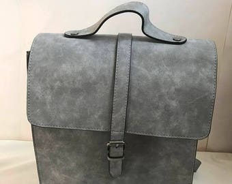 SUMMER  CLEARANCE SALE Vintage Vegan Leather Gray Backpack
