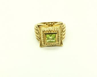 Antique Citron/Peridot Asscher Ring